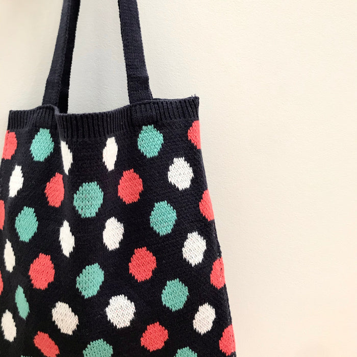 knit book tote in navy dot
