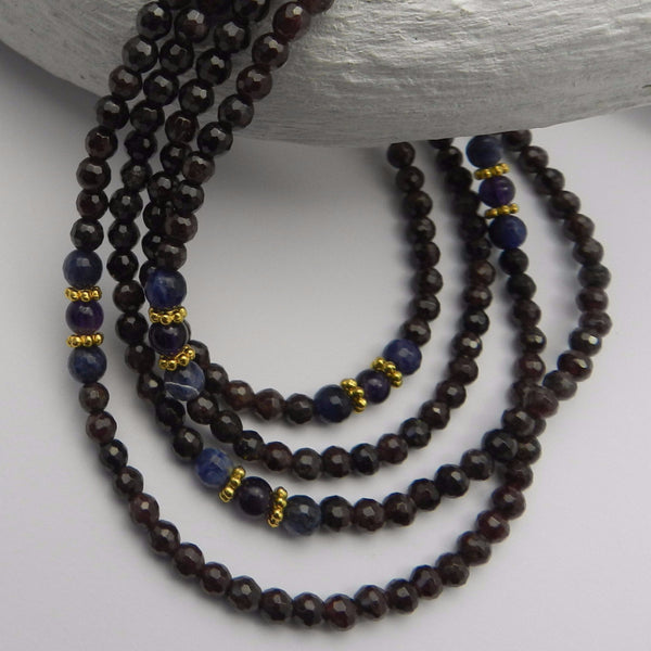 Garnet, sodalite beaded necklace