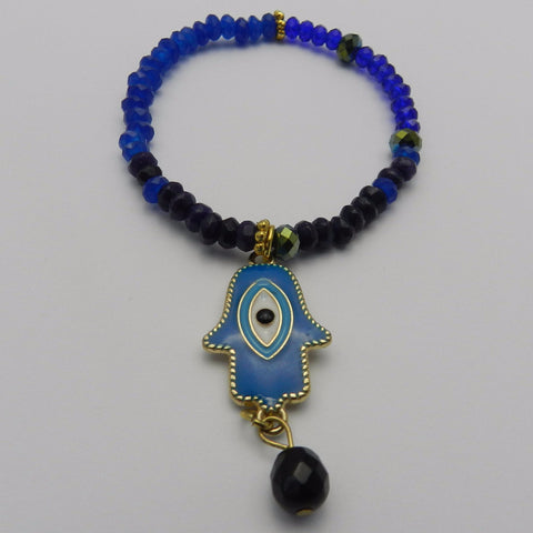 Blue jade, hamsa beaded bracelet