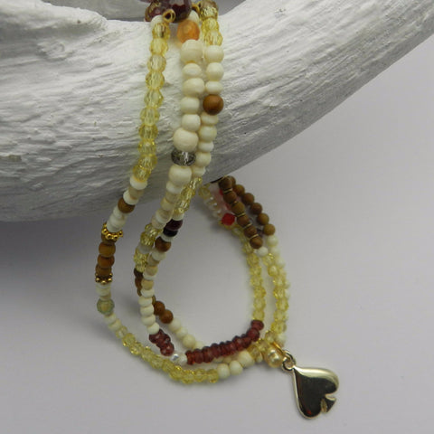 Bone, citrine beaded bracelet