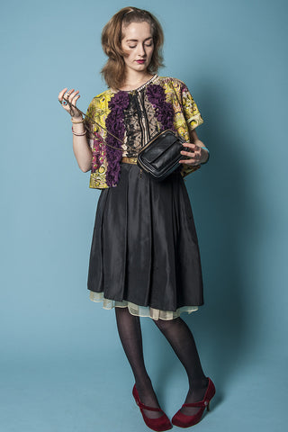 Black silk vintage skirt