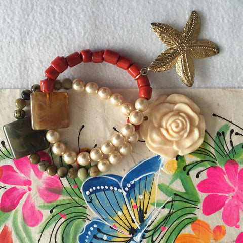Agate, pearl, coral beaded bracelets