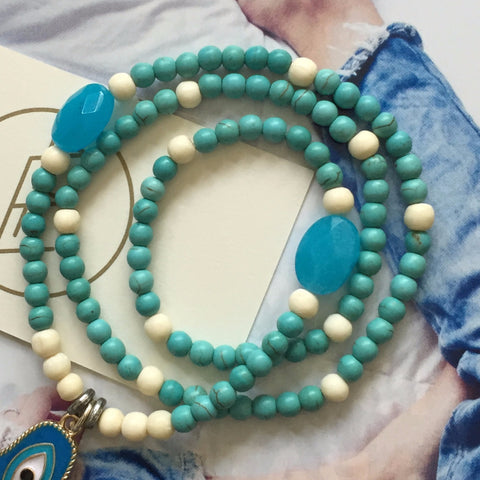 Bone, turquoise beaded bracelet