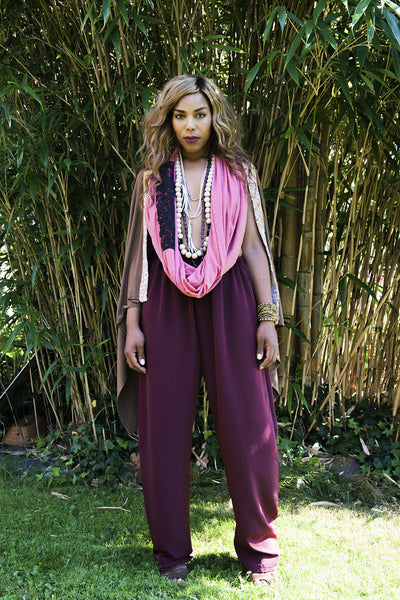 Loose fitting burgundy pants