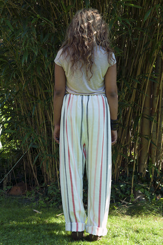 Colourful stripe loose fitting pants