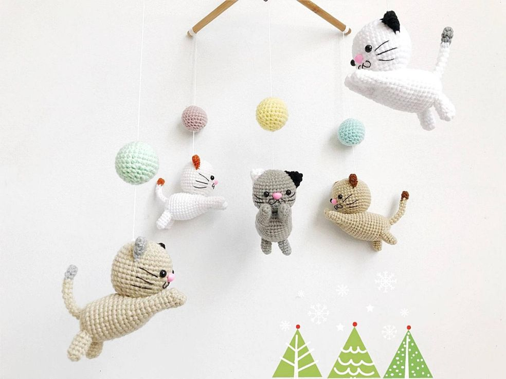 Crochet Cat Baby Mobile