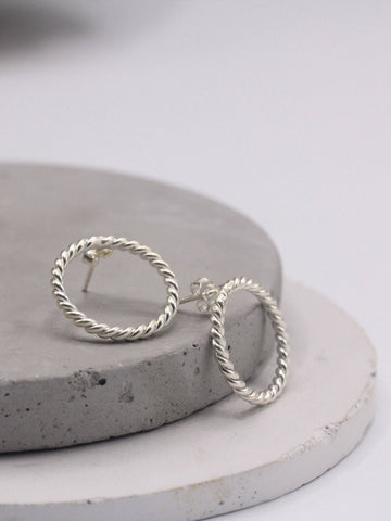Rope silver earrings