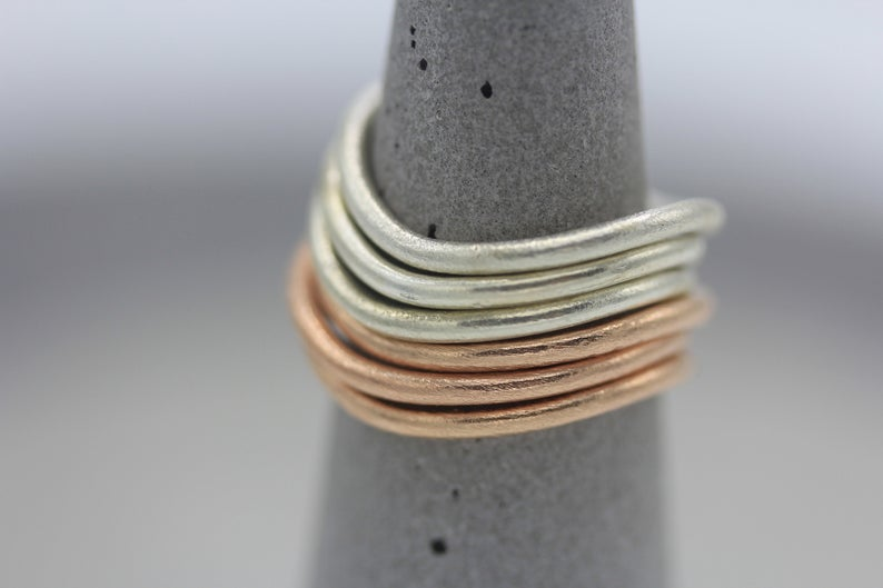 Handmade silver organic shape stackable ring in silver or rose gold - set of 3 rings