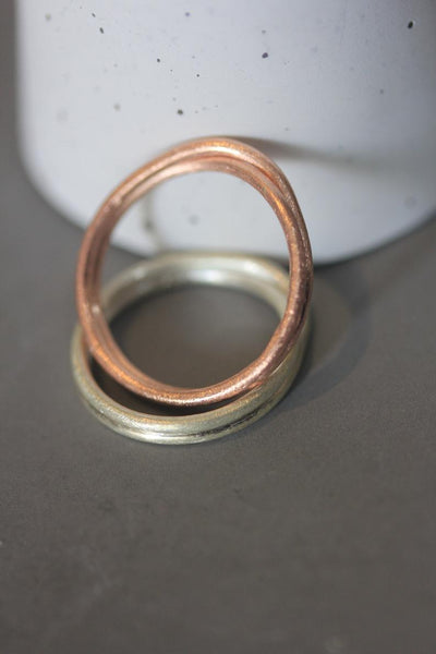 Handmade silver double wraparound front cross ring in silver or rose gold