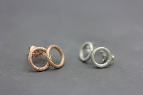 Circle silver stud earrings in silver or coated in rose gold