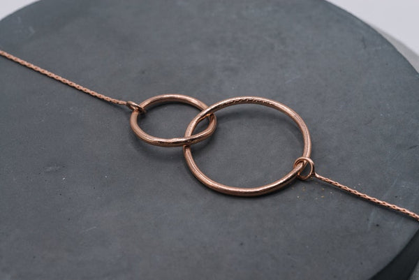 Entwined circles bracelet in silver or rose gold