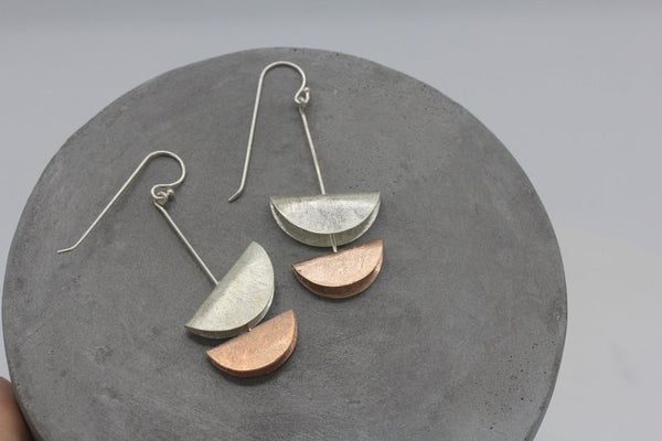 Double moon handmade dangling earrings