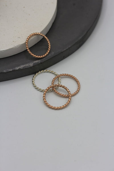 Handmade rope stackable ring in silver or rose gold finish - small/medium size