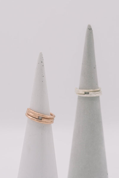 Silver stackable wrap rings with chiseled and plain surface - set of 2 rings