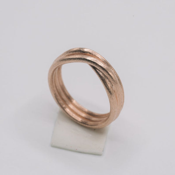 Handmade silver triple wraparound front cross ring in silver or rose gold