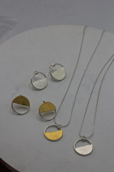 Circle half-moon pendant necklace in silver or half gold