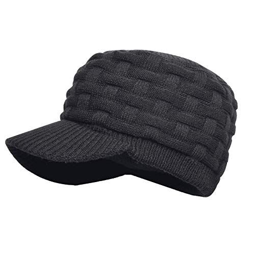 Dexshell Peaked Beanie Black side view in grey
