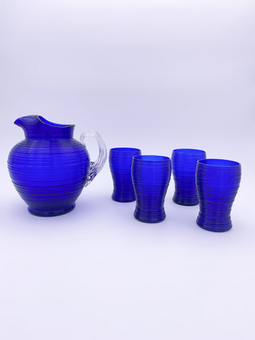 Cobalt Blue Spun Glass Set