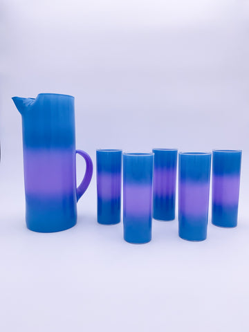 Aqua & Lavender Frosted Glass Set