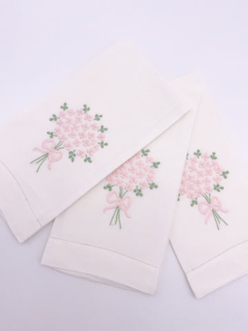 Pink Bouquet Embroidered Napkin Set