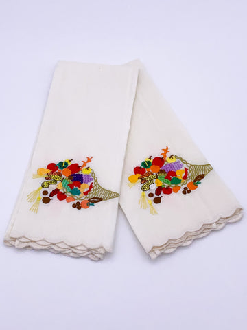 Fruit and Veggie Embroidered Napkin Set