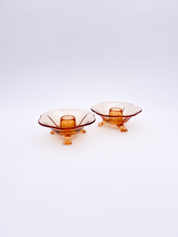 Amber Candle Holder Pair