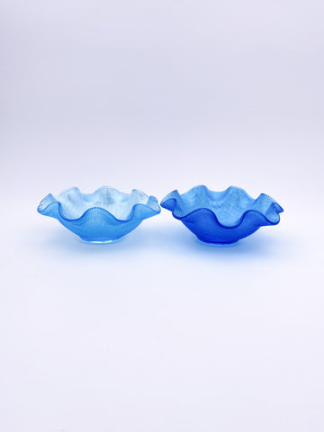 Waffle Glass Bowl Pair
