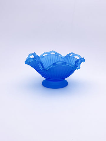 Satin Blue Ruffled Dish