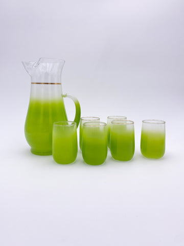 Green Frosted Glass Set