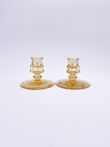 Etched Candle Holder Pair