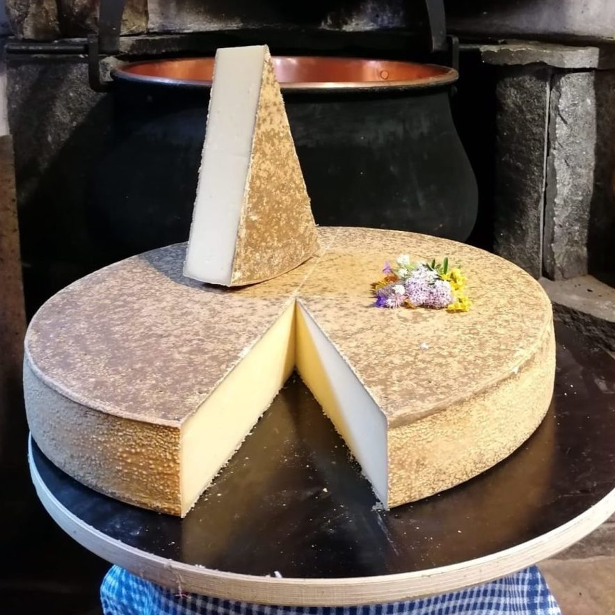 Large wedge of firm Alpine cheese with a light beige rind.