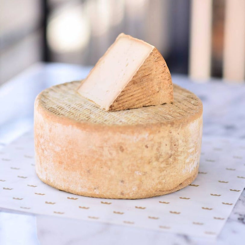 Large wheel of goat cheese, with brown patterned rind