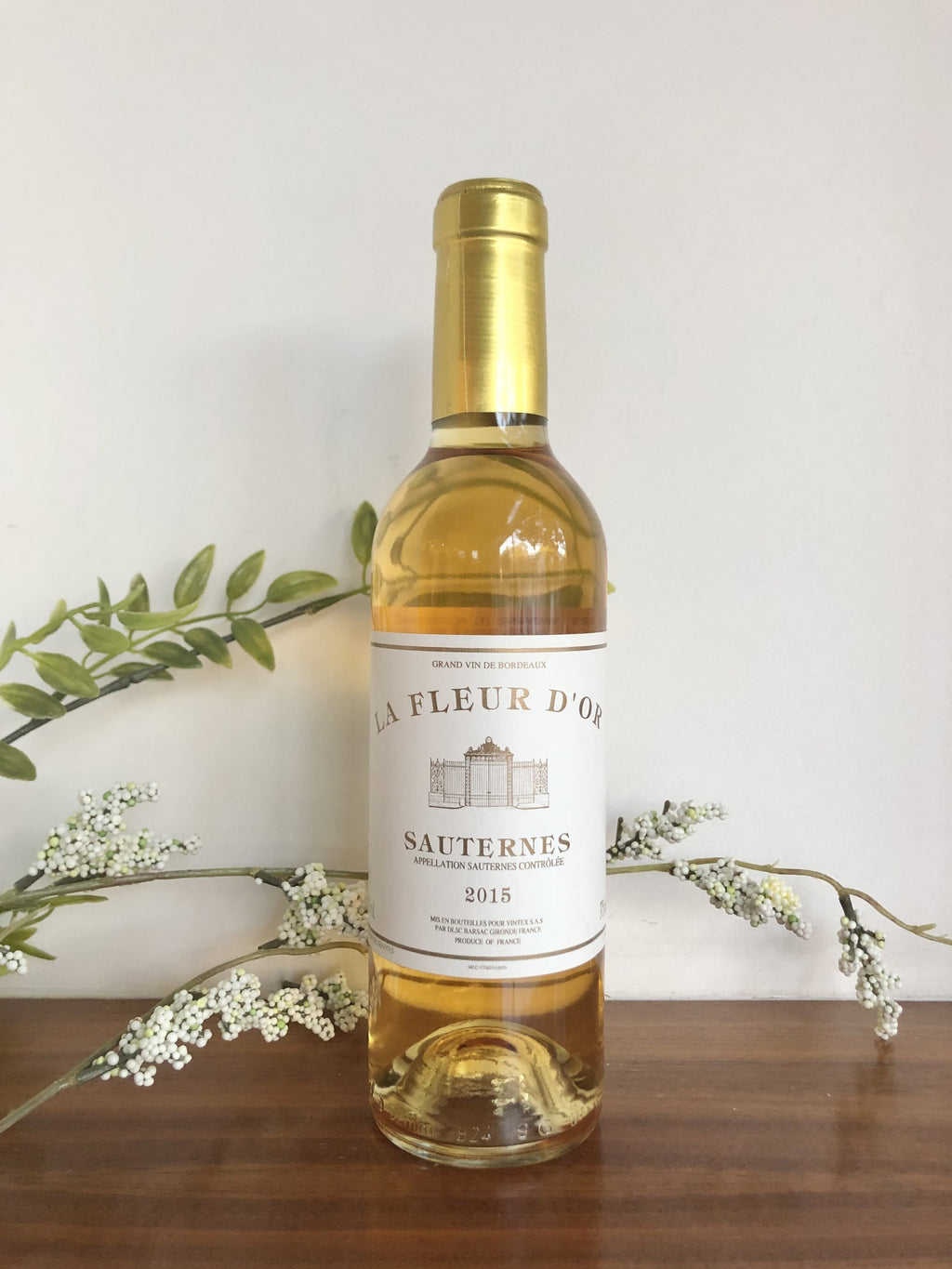 Bottle of golden dessert wine