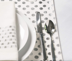 Silver Metallic Check Napkin - Set of 4