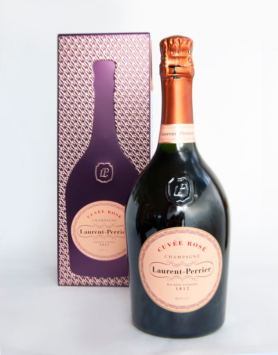 bottle of Laurent Perrier rose champange