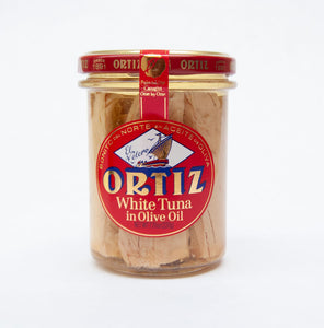 Glass jar of Ortiz brand tuna