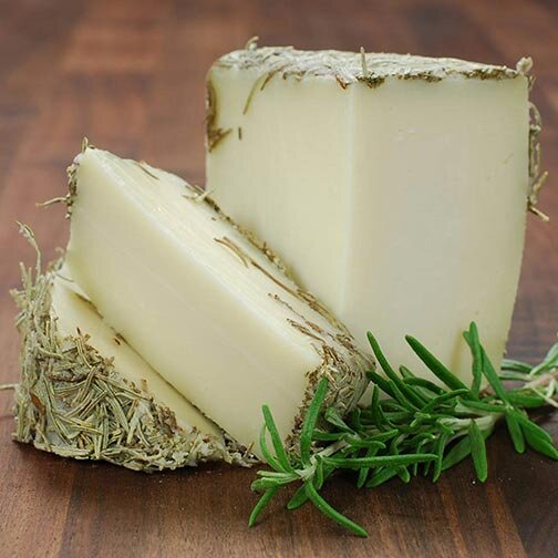 Soft cheese covered with a layer of dried rosemary