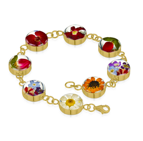 Gold Plated Sterling Silver Bracelet - Mixed flower - Lg Round