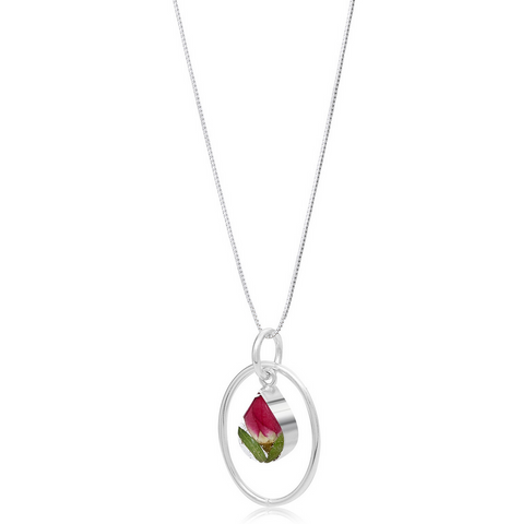 Silver Pendant - Rose - with Silver Oval Surround