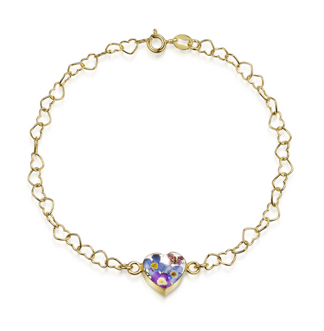 Gold plated Heart linked chain bracelet with flower charm - Purple Haze - Heart