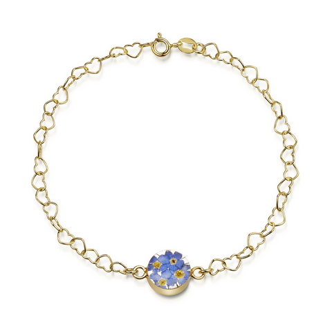 Gold plated Heart linked chain bracelet with flower charm - Forget-me-not - Round