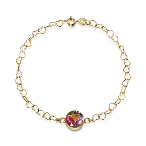 Gold plated Heart linked chain bracelet with flower charm - Mixed flower - Round