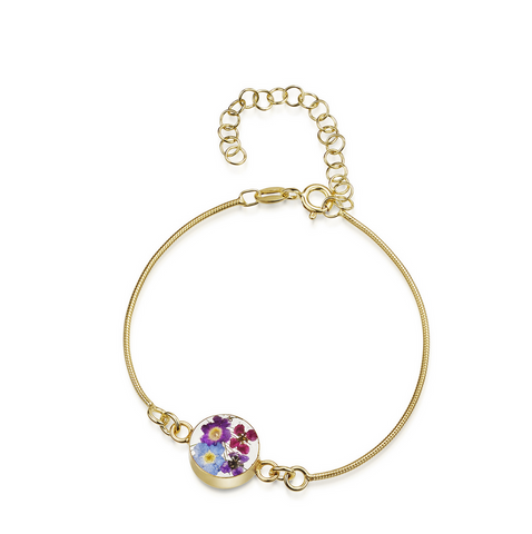 Gold plated snake bracelet with flower charm - Purple Haze - Round