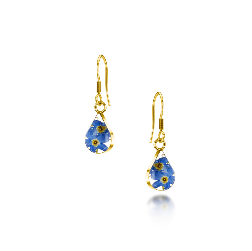 Gold Plated Sterling Silver drop Earring - Forget me not -Teardrop