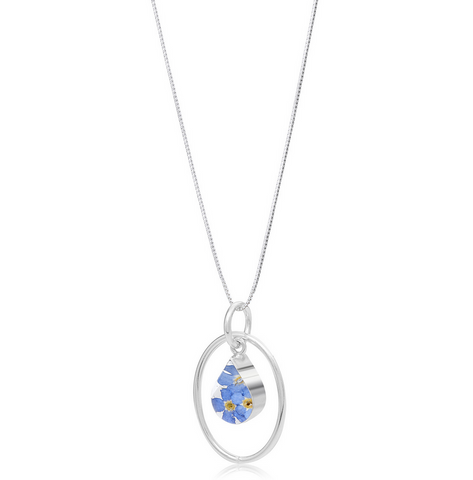 Silver Pendant - Forget-Me-Not - with Silver Oval Surround