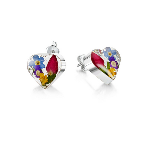 Silver stud Earrings - Mixed flowers + yellow - Sm heart