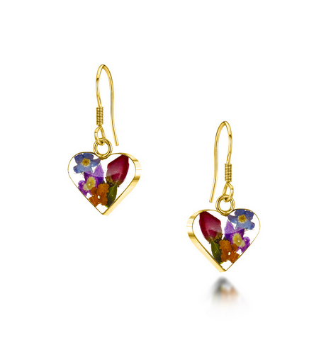 Gold Plated Sterling Silver drop Earrings - Mixed flowers + yellow - Sm heart