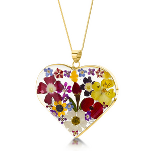 Gold Plated Sterling Silver Pendant - Mixed flower - Lg Heart