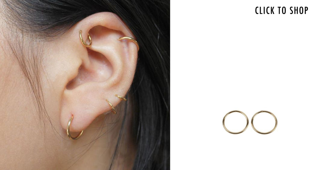 gold 10mm hoop earrings - Come Again