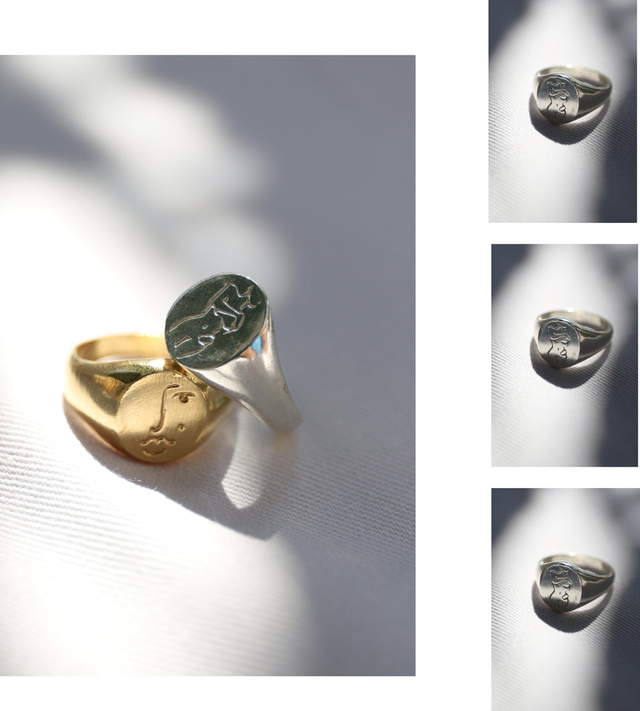 Gold and Silver Signet rings by Wolf Circus, Melanie Auld and Principle Goods